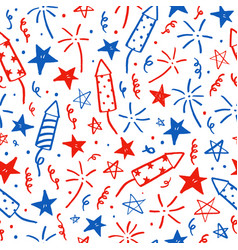 hand drawn doodles fourth of july i vector image