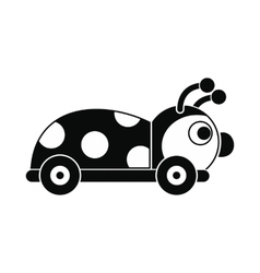 Ladybug toy on a wheels icon vector image vector image