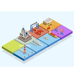 Maritime logistic isometric concept vector