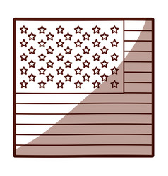 Monochrome silhouette of flag the united states in vector