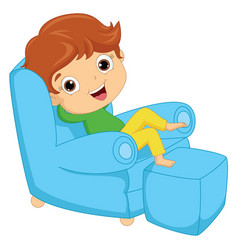 of a kid sitting on armchair vector image