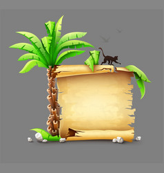 Old paper manuscript and palm vector