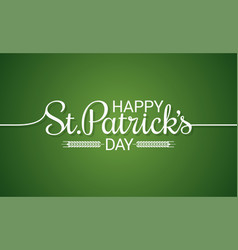 patrick day line vintage lettering background vector image vector image