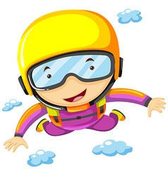 Person doing sky diving alone vector image vector image