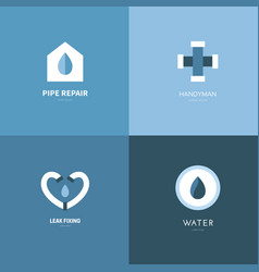 Plumbing logo set vector