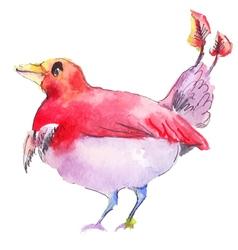red bird watercolor vector image