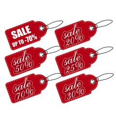 Sale price tag red a set of various discounts vector