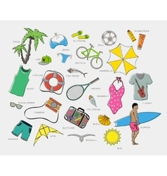 set of playsuits clothes entertainment and travel vector image vector image
