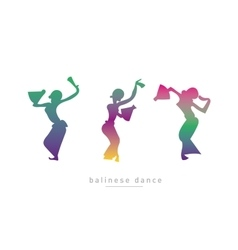 Silhouette of three girls dancing vector image