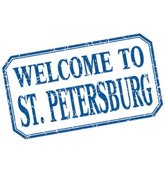 St petersburg - welcome blue vintage isolated vector