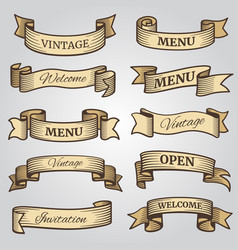 vintage ribbon banners with engraved shadows vector image vector image