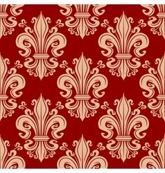 Vintage seamless fleur-de-lis floral pattern vector