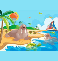 walrus and turtle in the ocean vector image vector image