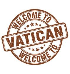 Welcome to vatican brown round vintage stamp vector