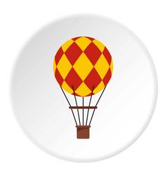 Yellow retro hot air balloon icon circle vector