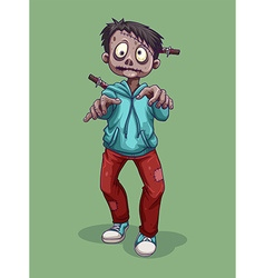 Zombie with knife on the head vector image vector image