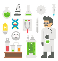 Flat design mad scientist item set vector