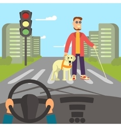 Blind man with guide dog vector