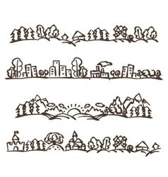 doodle landscape panoramas vector image