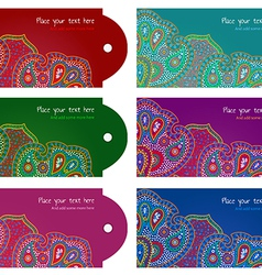 Paisley ornament message tags set vector