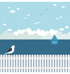 Blue seascape vector
