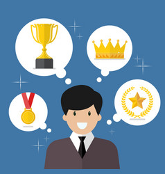 Businessman think about achievements vector