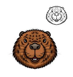 Beaver animal head isolated cartoon icon vector