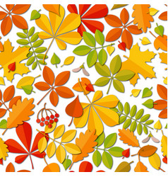 Seamless pattern autumn falling leaf isolated on vector