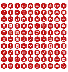 100 library icons hexagon red vector