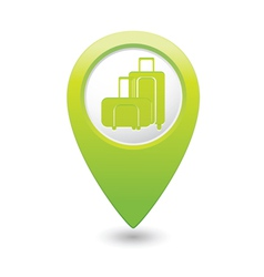 Suitcases icon green map pointer vector