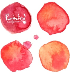 Red watercolor painted stains set vector