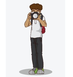 Cartoon character happy photographer vector