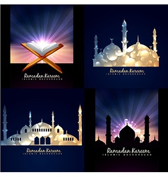 Collection of ramadan kareem background vector