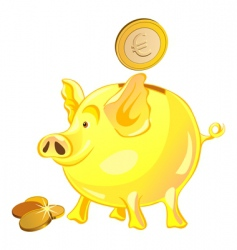 piggy bank and gold coins vector image