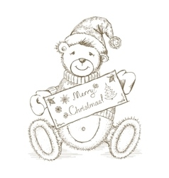 Christmas card with toy bear vector