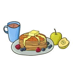Breakfast pancakes with berries coffee and vector