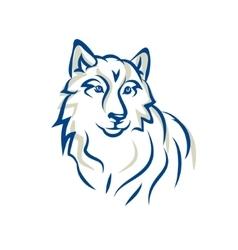 White wolf malamute  siberian husky vector
