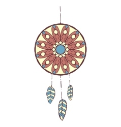 Hand drawn colorful dreamcatcher vector