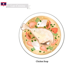 Chicken soup a popular dish in lao vector