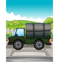 A big green truck vector image vector image