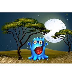 A monster near the tree under the bright fullmoon vector