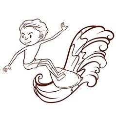 A simple sketch of a boy doing water sport vector
