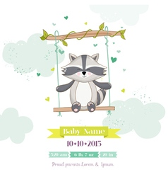 Baby Shower or Arrival Card - Baby Racoon vector image vector image