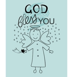 Bible lettering god bless you and little angel vector