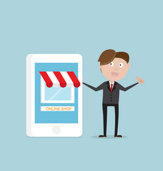 businessman standing with online store on vector image vector image