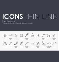 Care of the disabled thin line icons vector