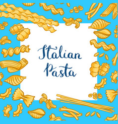 cartoon colored pasta types background with vector image
