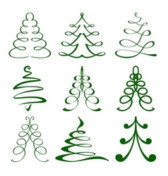 Christmas trees sketch set vector