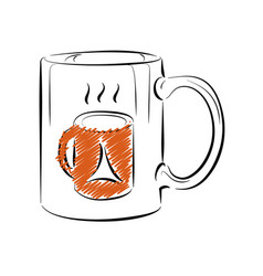coffee mug template outline style vector image