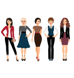 Cute young women in different clothes vector